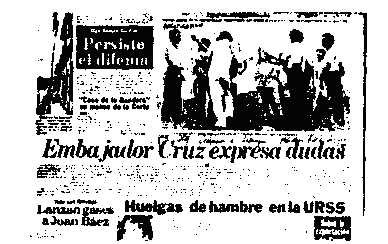 "La Prensa, May 9, 1981: Headline, ""Cruz."" Above is an unrelated photo showing a huge cross awkwardly hung over the back of a youth, with young people in a circle, singing."