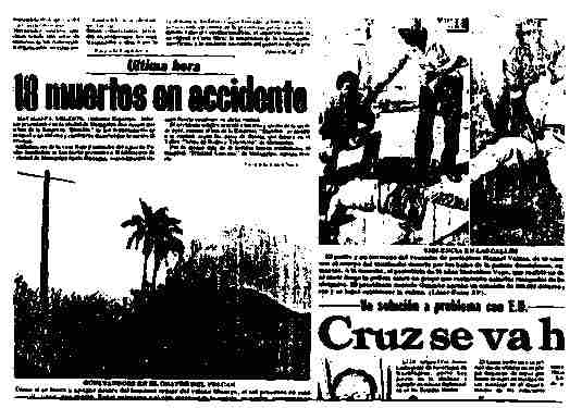 "LaPrensa, April 9, 1981: Headline, ""Cruz."" Above are two unrelated photos of victims of violence (genuine), with arms outstretched. To the left is an unrelated photo, a retouched composite, with a cross on the top of a hill and, in the caption, the expression, ""our long-sufferring Nicaragua."""