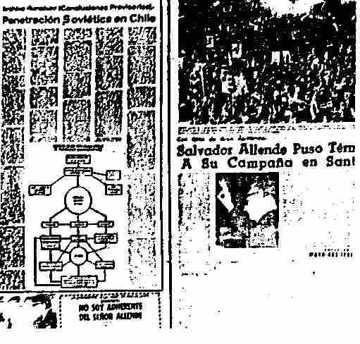 "El Mercurio, September 2, 1970: A photo of Salvador Allende is placed next to an unrelated story entitled ""Soviet penetration in Chile."""