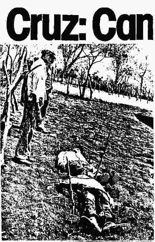 "LaPrensa, March 23, 1981: Headline, ""Cruz."" Immediately below is an unrelated photo of two Christ-like figures with a cross planted next to each body. In fine print La Prensa admitted that two volunteers agreed to play the role of the dead bodies, while it supplied the two crosses."
