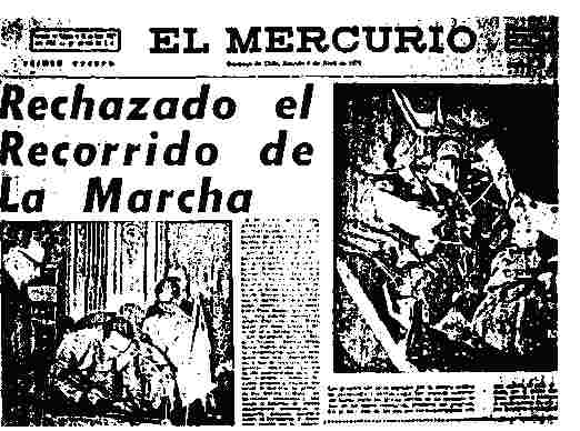 El Mercurio, April 8, 1972: Color photo of open heart surgery next to picture which includes Allende.
