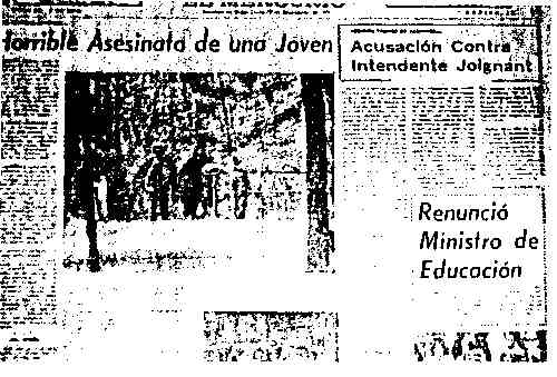 "El Mercurio, September 25, 1972: Story about Minister of Education next to article entitled, ""Horrible Murder of a Young Girl."""