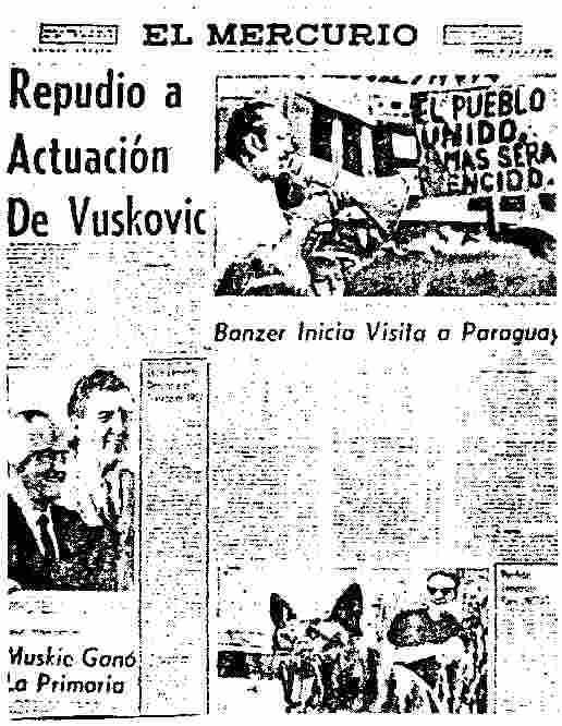 El Mercurio, March 9,1972: The attack dog near the article about Minister Vuscovic.