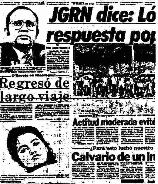 "La Prensa, March 18, 1981: Photo of ""healthy"" Minister juxtaposed against photo of hospitalized youth."