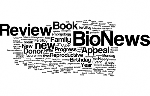 Word cloud of BioNews article titles, written by Sarah Norcross, 2008-2015. wordle website, 9 April 2015.