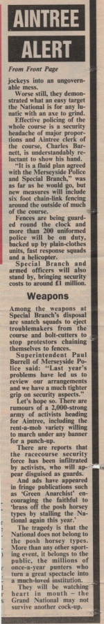 A contemporary newspaper article on Merseyside Police and Special Branch preparations for 1994 Grand National protests (part 2).